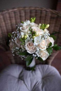 white roses & freesia Romantic Bouquet by Simmi Floral Design