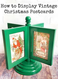 If you love to display vintage Christmas postcards during the holidays, then this upcycling idea is PERFECT for you! A rotating photo frame from the thrift store is simply wonderful to display all your lovely cards. AND it can double as an alternative for a tabletop tree, too! #vintagechristmasdecorations #vintagechristmascards #christmaspostcard #victorianchristmas #vintagechristmasdecorations #upcycledcrafts #thriftstorefinds #diychristmas #xmasdecor Diy Craft Projects, Christmas Craft Projects, Vintage Christmas Cards, Christmas Postcards, Vintage Cards, Diy Crafts, Bunny Crafts, Vintage Ornaments, Vintage Santas