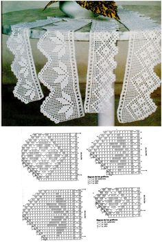 Edgings with diagram #01, filet work curtains doily collars