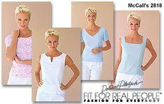 McCall's 2818 14-18 misses blouse, short sleeve or sleeveless, square, v neck, round or keyhole