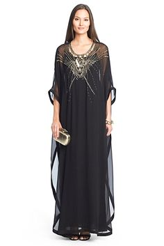 Clare Beaded Chiffon Kaftan Maxi Dress In Black