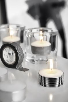 Decorative tape...what an easy way to make simple tea lights fabulous! @ Wedding Day Pins : You're #1 Source for Wedding Pins!Wedding Day Pins : You're #1 Source for Wedding Pins!
