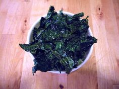Kale Chips... rip into pieces (discard stems) toss with olive oil and sea salt. Bake at 350 for 10-15 mins.