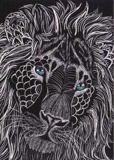 lion zentangle i love the white on black!!