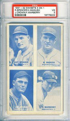 1931-32 4-on-1 Exhibit,Cronin,Manush,+,Washington Senators,PSA3,2HOFs,4 Higher #WashingtonSenators