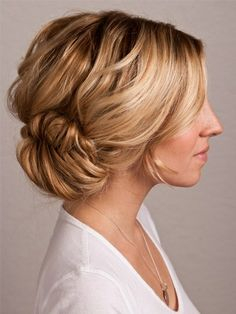 "updo: low messy bun. Mother of bride hair? Like the idea of an updo but a lower one for us ""older"" ladies."