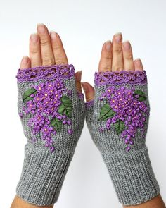 Hand Knitted Fingerless Gloves, Gloves & Mittens, Ribbon Embroidery, Grey,Lilac, Accessories, Gift Ideas, For Her,Women, Fall