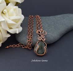 Moss Agate and Copper Handmade Pendant on a Solid Copper Chain by JakdawGems on Etsy