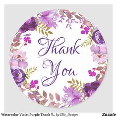 Watercolor Violet Purple Thank You Favor Classic Round Sticker Thank You Messages Gratitude, Thank You Wishes, Thank You Notes, Thank U Cards, Thank You Card Template, Logo Online Shop, Thank You Images, Birthday Wishes For Daughter, Business Stickers
