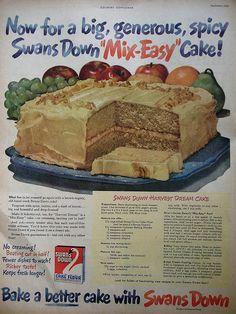 Swan's Down Harvest Dream Cake recipe    Country Gentleman - September 1947