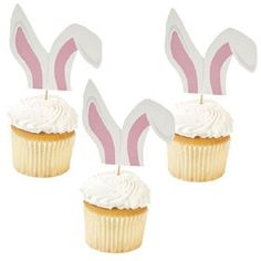25 Easter Bunny Ears Picks Food Cake Cupcake DECORATIONS #FX #CupcakefoodPicks #Easter