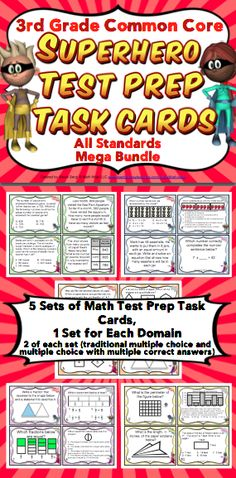 3rd Grade Math Test Prep Task Cards (Superhero Theme): Help your students unleash their testing super powers! This superhero themed Common Core aligned task card pack includes 5 sets of 24 task cards (one for each domain). A bonus section also includes games, recording sheets, activities, and more. Wow! $ 4th Grade Math Test, Fourth Grade, Math Task Cards, Recording Sheets, Test Prep, Super Powers, Prepping, Activities, Core