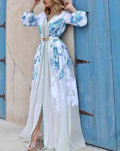 General Blue Vacation Dresses X-line Dress Elegant Polyester Spring Maxi Summer Floral V-Neckline M Sleeves XL Dress Morrocan Dress, Moroccan Caftan, Arab Fashion, Muslim Fashion, Elegant Dresses, Beautiful Dresses, Floral Dresses, Dress Outfits, Fashion Dresses