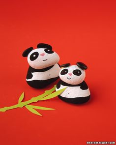 Pandas made from painted rocks