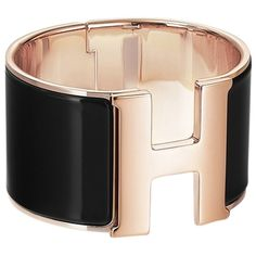 Pre-owned Hermes Black Enamel Gold Extra Wide Clic H Pm Bracelet ($1,050) ❤ liked on Polyvore featuring jewelry, bracelets, accessories, black and gold, hermès, hermes bangle, hermes jewelry, gold jewelry and yellow gold bangle