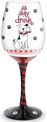 Wine Glass - Sit, Stay, Drink by Epic Products. $25.00. Hand-painted wine glassware features Sit Stay Drink design, meticulous detailing and wrap-around designs that any dog lover will love. Large 16 OZ stemmed wine glasses use 100% non-toxic paint. Each glass is shipped in custom fit boxes that are as fun as the glasses themselves and make them the perfect gift idea for all the dog lovers in your life.