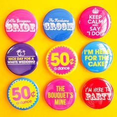 Fun Wedding Badges Pack of 9   1.75 Badge / by instantawesome, $9.90