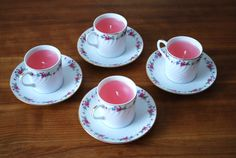 Handmade Watermelon Scented Espresso Cup Candle with Pink and Blue Rose Motif