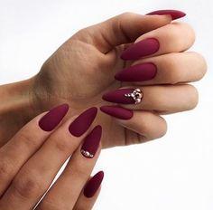 27 Breathtaking Designs for Almond Shape Nails Lovely dark red nails design for almond shape nails 30 Hot Almond Shaped NailBeautiful Nails Art + Cute Simple Nail Des Manicure Nail Designs, Almond Nails Designs, Red Nail Designs, Manicure E Pedicure, Art Designs, Mani Pedi, Matted Nails, Almond Acrylic Nails, Autumn Nails Acrylic