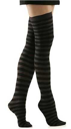 Black and Grey Stripe Solid Opaque Thigh Highs by Foot Traffic, muutkin suunnilleen yhtä pitkät musta-harmaaraidalliset sukat käy, samoin sukkahousut
