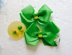 New 2 Handmade Grosgrain Ribbon Hair Bows Earrings Ring  Set Clips Girl Green