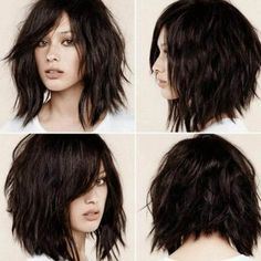 This is certainly the year of the shag haircut, which fits in perfectly with the contemporary-casual undone look that?s currently dominating hair fashion trends. The shag has always been considered a bit daring and rather unconventional. At the time, it Medium Hair Styles, Curly Hair Styles, Short Hair Styles For Round Faces, Short Shag Hairstyles, Bob Haircuts, Razor Cut Hairstyles, Medium Choppy Haircuts, Edgy Medium Hairstyles, Scene Haircuts