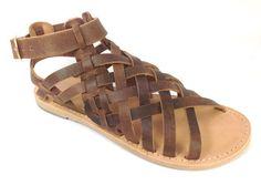 Women's Greek leather sandals. Gladiator style - Eygenia