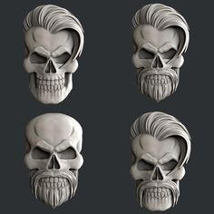 STL models for CNC set 4 models skulls image 0 Wood Carving Designs, Wood Carving Art, Skull Model, Stl File Format, 3d Cnc, Masks Art, 3d Prints, Skull Art, Wood Sculpture