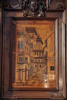 Fra Damiano Zambelli - Campiello veneziano - tarsie del coro - 1510-20 circa - Chiesa dei Santi Bartolomeo e Stefano - Bergamo (Italia)
