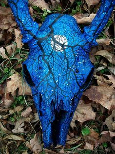 Starry Night Painted Deer Skull by ShadyufoStudios on Etsy