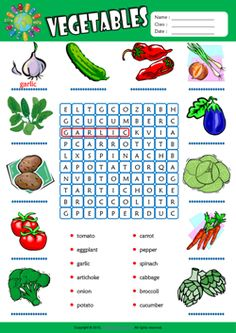 Vegetables ESL Printable Picture Dictionary, Vocabulary Matching Exercise, Word Search Puzzle, Crossword Puzzle Worksheets for Kids! First Grade Worksheets, Vocabulary Worksheets, Kindergarten Worksheets, English Vocabulary, Printable Worksheets, English Lessons, Learn English, French Lessons, English Class