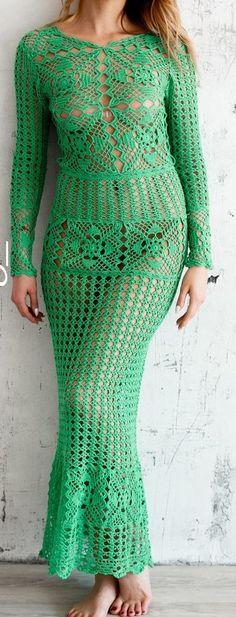 Emeralds  Crochet Maxi dress