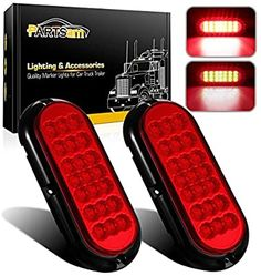 "4pcs 6/"" Oval  Truck Trailer Stop//Turn//Tail Red 24 LED Brake Lights w//Grommet Red"