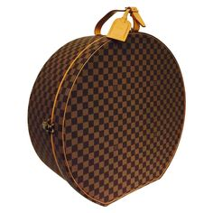 Louis Vuitton Boite Chapeaux Damier Ebene 50 Travel Round Case  | See more vintage Luggage and Travel Bags at https://www.1stdibs.com/fashion/handbags-purses-bags/luggage-travel-bags in 1stdibs