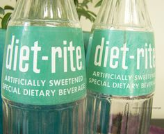 2 Vintage ACL 16 oz Diet-Rite soda bottles - RARE green label by RetrowareExchange on Etsy