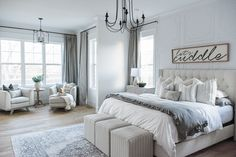 Ash Organic Cotton Drapery adds a sophisticated feel to this gray bedroom. Modern Cottage, Cottage Farmhouse, Modern Farmhouse, Ruffle Duvet, Bedding Master Bedroom, White Duvet Covers, White Sheets, Pillow Forms, Window Coverings