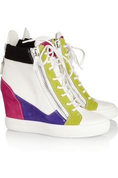c362ec08e24d Giuseppe Zanotti - Lorenz leather and suede wedge sneakers