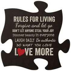 Rules for Living Quote Puzzle Piece