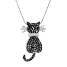 Sterling Silver Cat Pendant-Necklace made with Black and White... ($60) ❤ liked on Polyvore featuring jewelry, necklaces, cat jewelry, swarovski crystal pendant necklace, sterling silver box chain necklace, cat pendant and pendant necklace