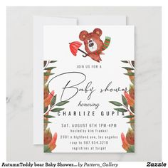 AutumnTeddy bear Baby Shower Invitation Baby Shower Invitation Cards, Baby Shower Invites For Girl, Colored Envelopes, White Envelopes, Rustic Invitations, Create Your Own Invitations, Envelope Liners, Paper Texture, Bear