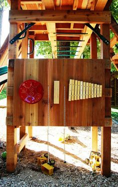 Playset with musical instruments - Natural State Treehouses #kids #playset #swingset