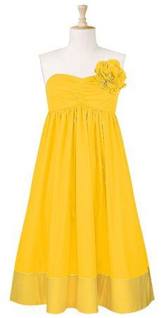 strapless rosette pin dress sunset gold $55