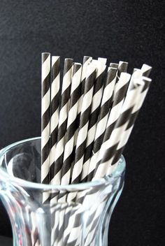 Black Striped Paper Straws and PDF Printable by CupcakeSocial