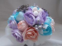 Paper flower bridal bouquet