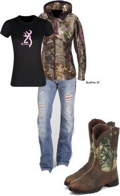 """Small Town Casual"" by camo-ammo-queen ❤ liked on Polyvore! I want this outfit....Im a camo loving type of girl! Hehe  -Yisel-"