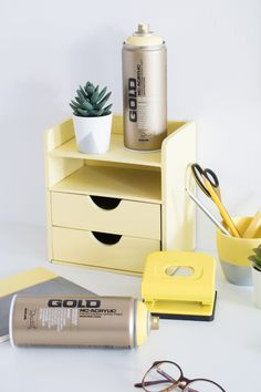 Pantone inspired Office Objects – Bringing your space up to date Space Up, Your Space, Gold Spray Paint, Gold Line, Pantone Color, Color Trends, Floating Nightstand, The Darkest, Glow