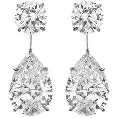 Diamond Drop Dangle Earrings | From a unique collection of vintage dangle earrings at https://www.1stdibs.com/jewelry/earrings/dangle-earrings/