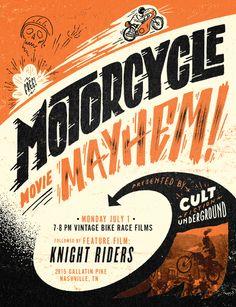 Motorcycle Movie Mayhem poster on Behance