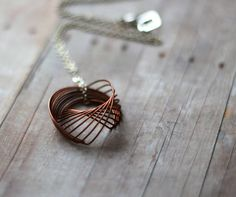 Cij Spirograph Pendant - Copper Wire Coil Necklace With Silver Chain…