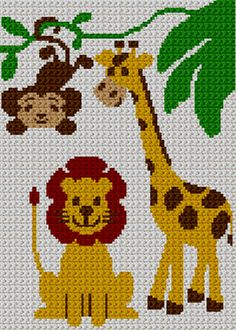 Giraffe Monkey Safari Z00 Afghan Crochet Pattern Graph | eBay